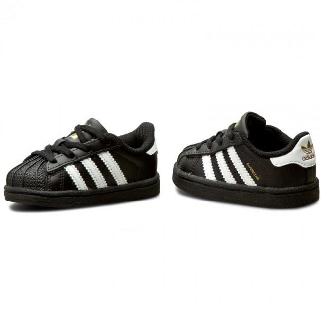 Dettagli su Scarpe sportive bambino ADIDAS Superstar TD pelle con lacci nero e bianco BB9078